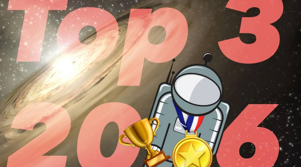 Top 3 2016 - Floaty the Astronaut has a trophy and is wearing a medal
