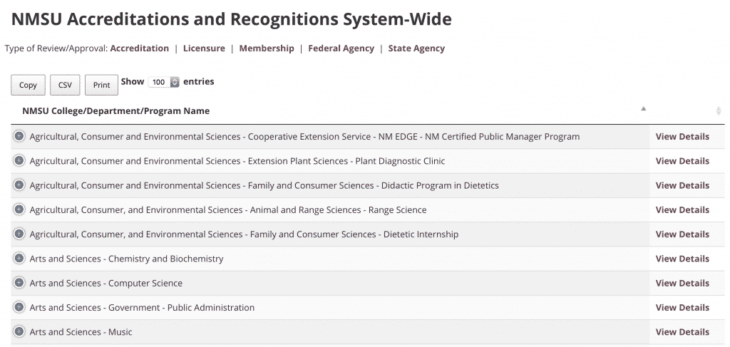 NMSU Accreditations and Recognitions System-Wide