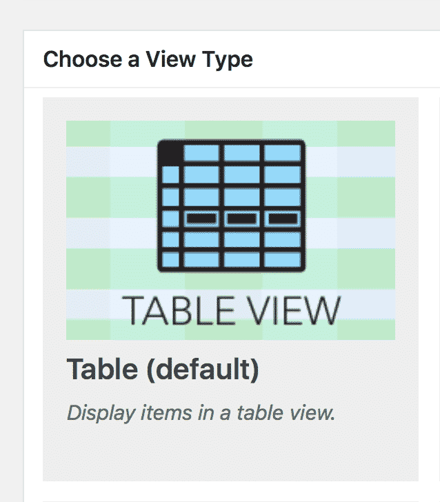 The GravityView Table View