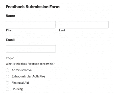 Preview of Feedback Submission Form