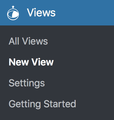 WordPress sidebar, the New View option, which is under the heading Views, is selected.