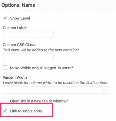 Link to Single Entry option enabled