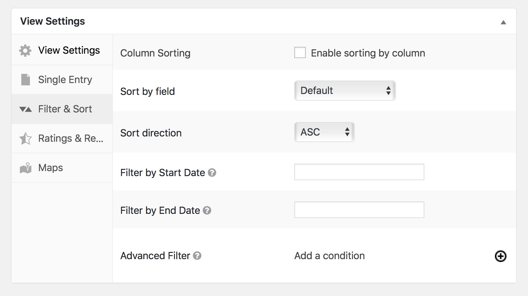 Filter and Sort settings in GravityView show a list of settings that will modify how sorting behaves