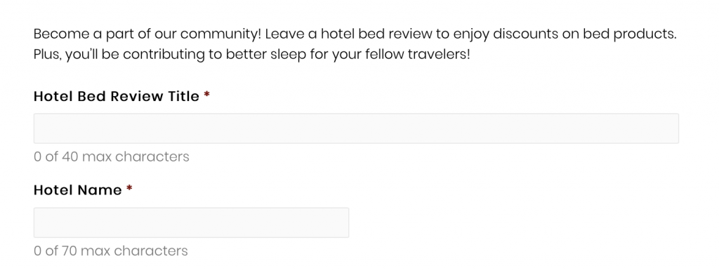 A web form with two fields - one for the Hotel Bed Review Title and one for the Hotel Name