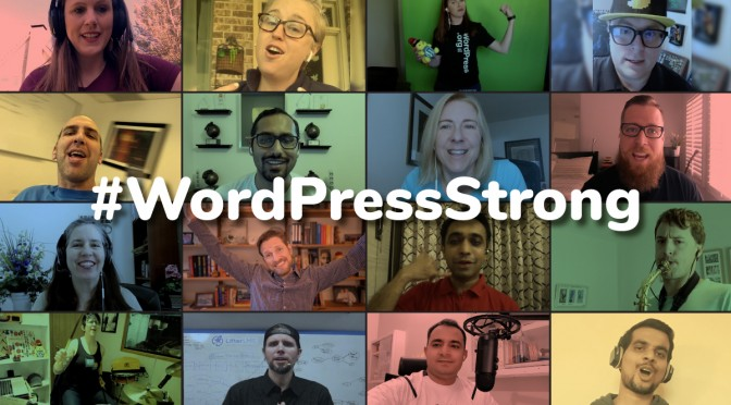 #WordPressStrong text above a grid of singers who perfomed in the video