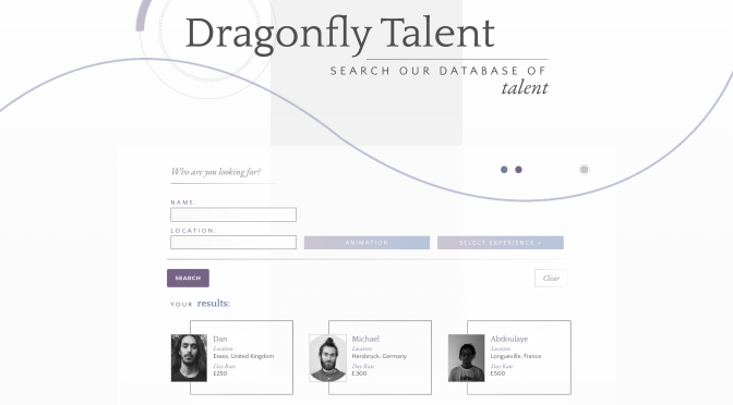 Gravity Forms front-end database search results for Dragonfly talent microsite