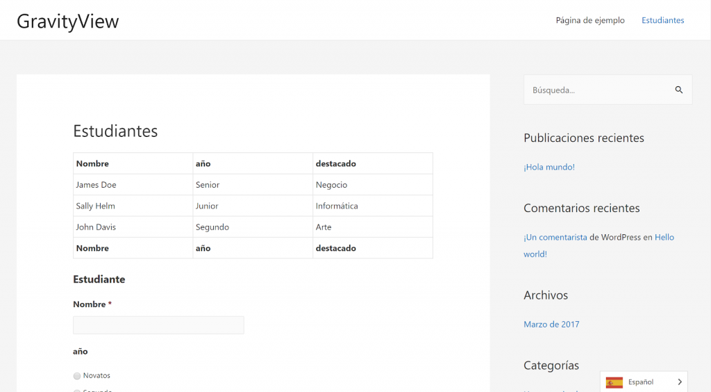 Screenshot of the translated page where GravityView and Gravity Forms are embedded. The page is in Spanish.