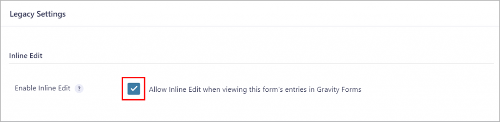 """The """"Enable Inline Edit"""" checkbox"""