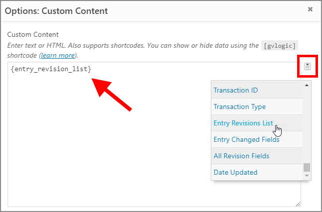 """The 'entry revision list"""" merge tag inside a GravityView Custom Content field."""