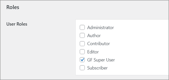 The User Roles select box, with the GF Super User box checked