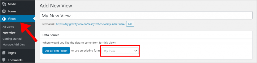 Creating a new view in the WordPress dashboard