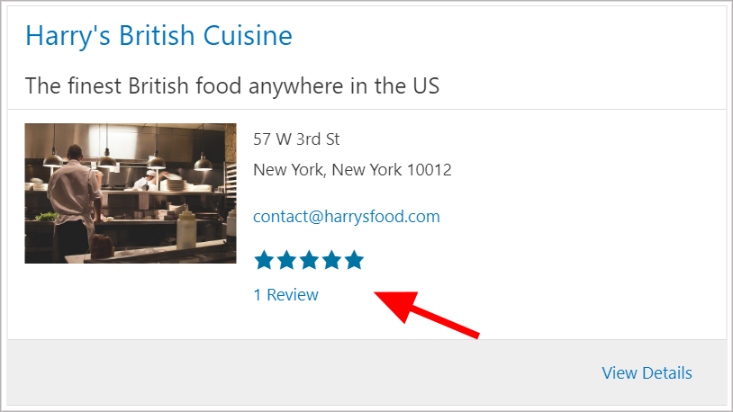 A listing view displaying the profile of a restaurant. There is a 5-star ratings showing with 1 review.
