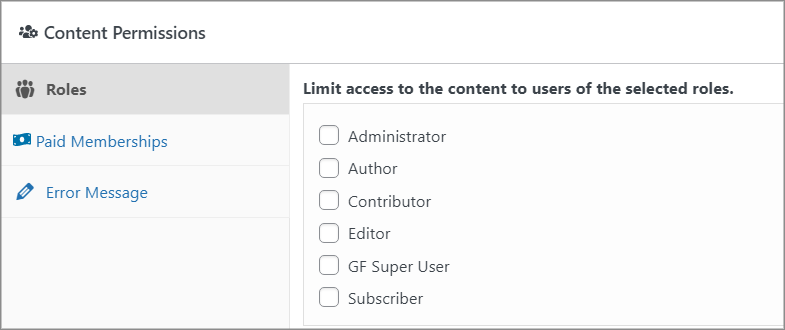 The Content Permissions meta box allowing you to limit access to content depending on user role