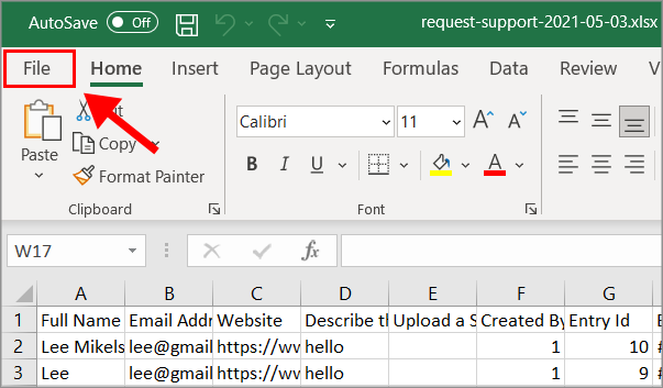 """An open Microsoft Excel spreadsheet with an arrow pointing to """"File"""" in the top left corner"""