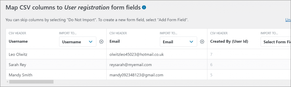 The Import Entries plugin displaying a preview of the data to be imported into Gravity Forms