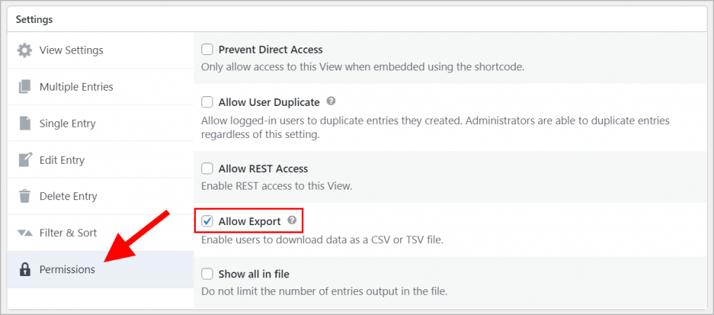 """Highlighting the """"Allow Export Checkbox"""" in the Permissions panel under the View Settings in GravityView"""
