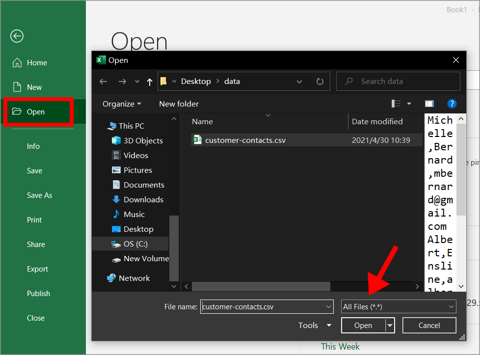 """The Microsoft Excel """"Open"""" window when selecting a new CSV file to open"""