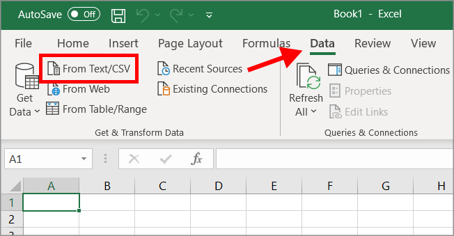 """Excel spreadsheet with the """"From Text/CSV"""" button highlighted under the """"Data"""" tab"""