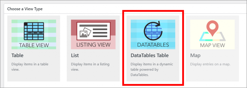 The different GravityView View Layout with the DataTables layout highlighted