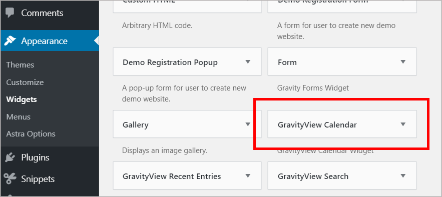 The WordPress widgets page with the GravityView Calendar widget highlighted