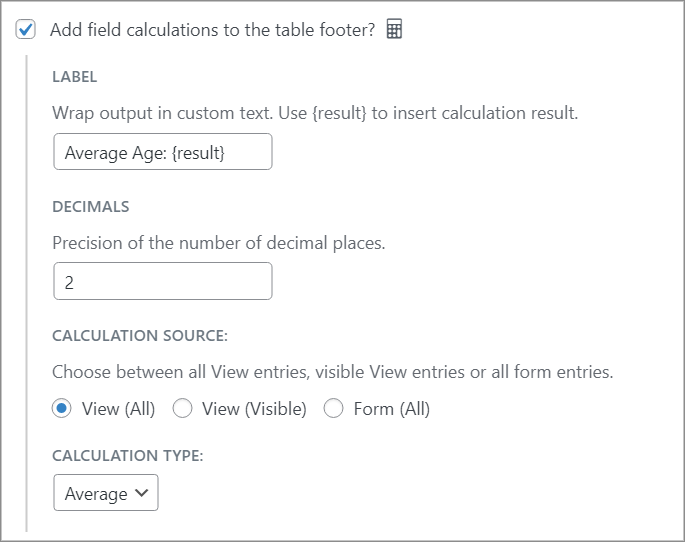 """The footer calculations options, with Calculation Type set as """"Average"""""""