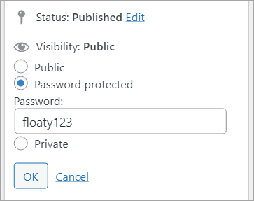 """The """"Password protected"""" option with the password set as """"floaty123"""""""