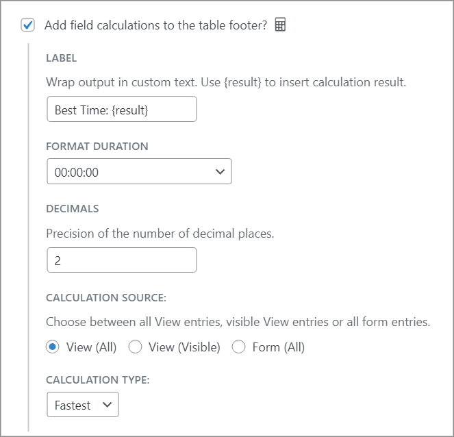 """The footer calculations options with """"Fastest"""" selected as the """"Calculation Type"""""""