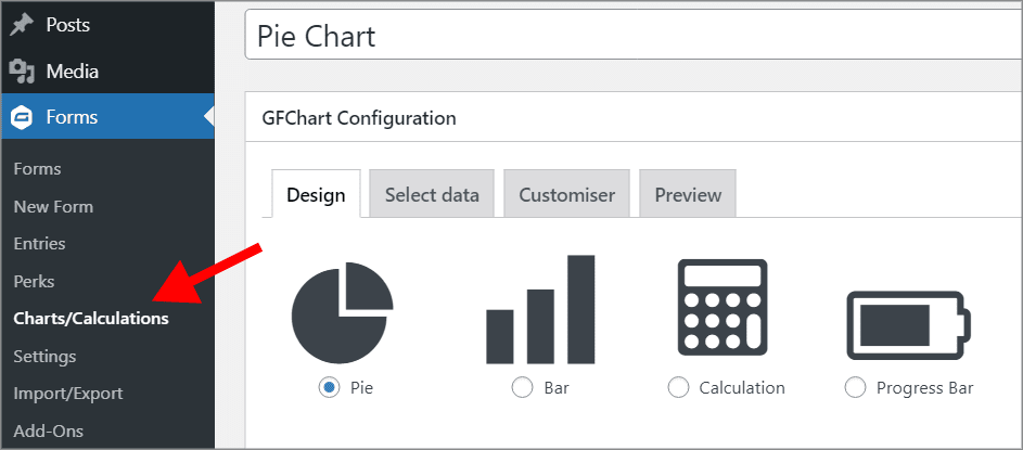"""An arrow pointing to the """"Charts/Calculations"""" page under """"Forms"""" in WordPress"""