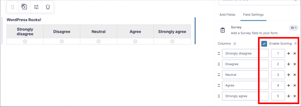 """The """"Enable Scoring"""" checkbox next to the Survey fields in Gravity Forms"""