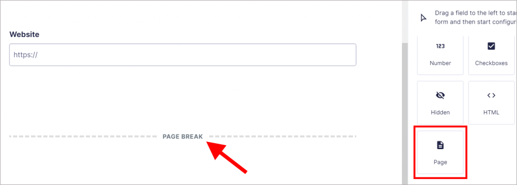"""An arrow pointing to a """"Page Break"""" on the Gravity Forms Edit Form screen"""