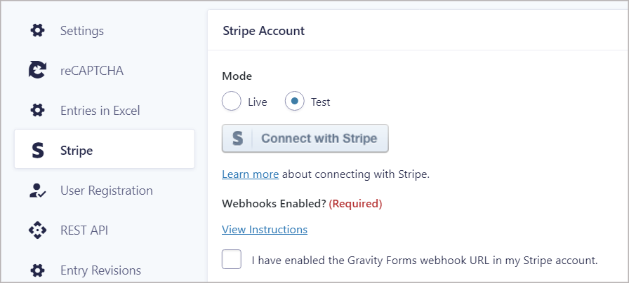 The Stripe feed in Gravity Forms