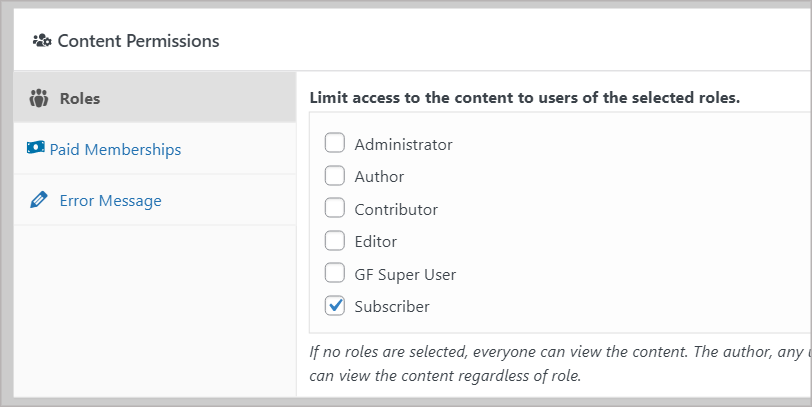 """The """"Content Permissions"""" meta box showing the different WordPress user roles"""
