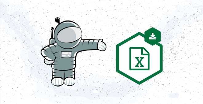 """The GravityView Mascot, Floaty, pointing to the """"Gravity Forms Entries in Excel"""" logo"""