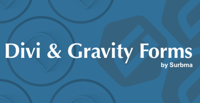 """""""Divi & Gravity Forms by Surbma"""" on a blue background"""