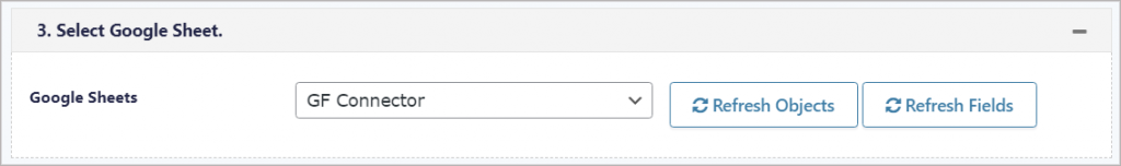 """The """"Google Sheets"""" dropdown, allowing you to select a sheet"""