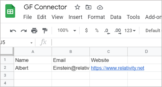 A Google Sheet showing data from a Gravity Forms entry