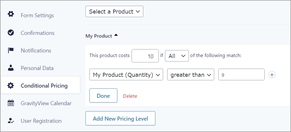"""The """"Conditional Pricing"""" settings in Gravity forms"""