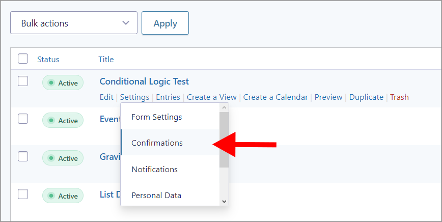 """An arrow pointing to the """"Confirmations"""" link under """"Settings""""."""