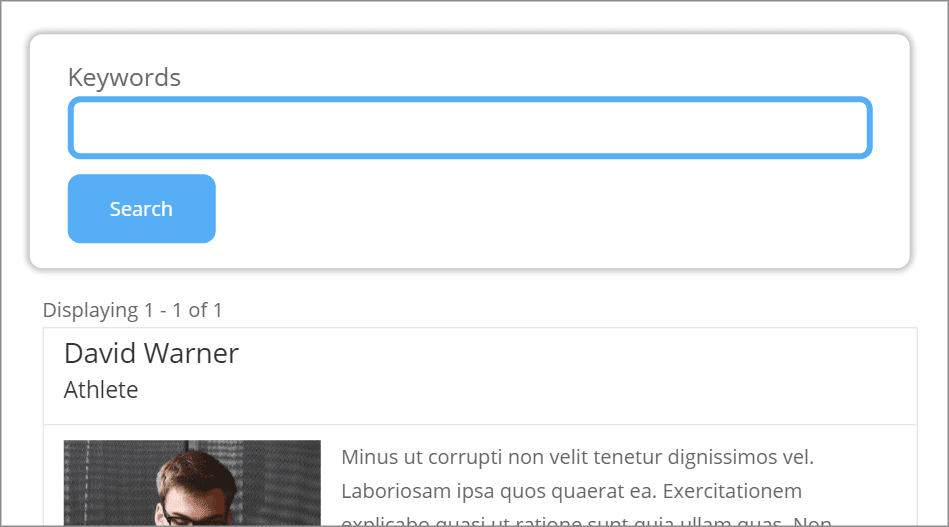 """The GravityView search widget on the front end with custom styles. The search bar is blue with a blue """"search"""" button underneath"""
