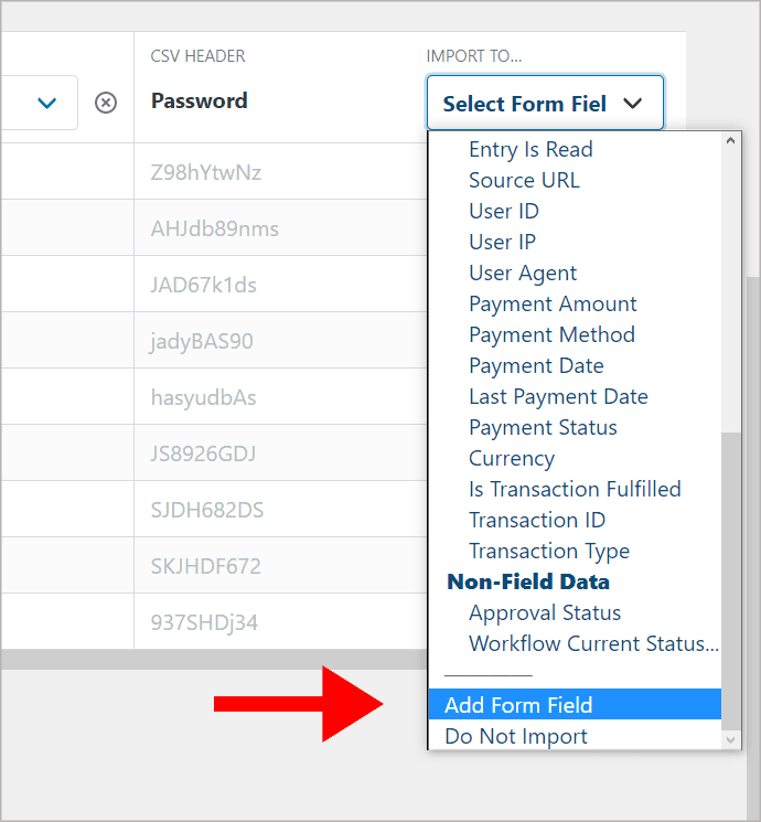 """The """"Add Form Field"""" option under """"Select Form Field""""."""