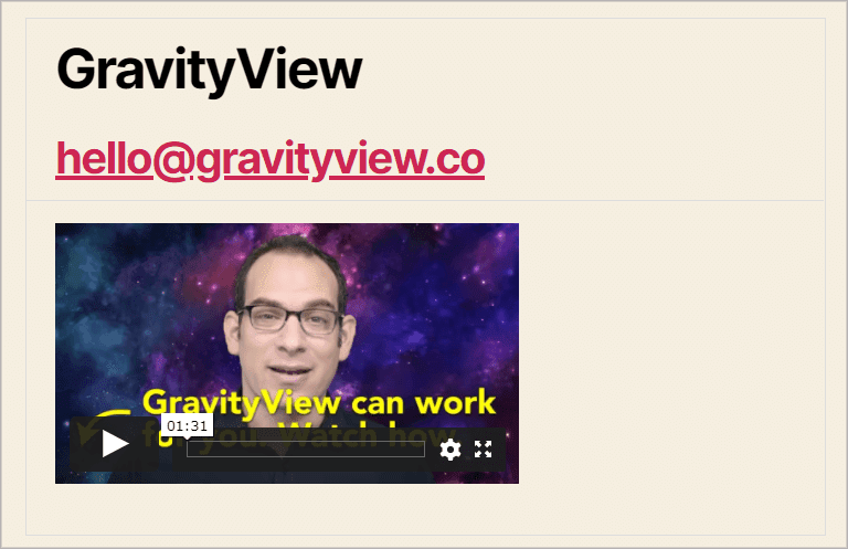 An embedded Vimeo player from Gravity Forms