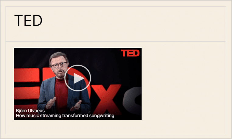 a TED video embedded from Gravity Forms