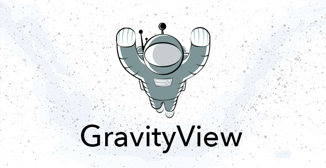 Floaty, the GravityView mascot flying on a star background with the word GravityView underneath
