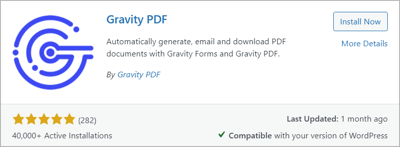 The Gravity PDF plugin showing 40,000 active installations and 282 reviews with a 5-star rating