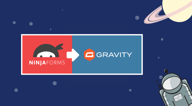 The Ninja Forms logo and the Gravity Forms logo side-by-side