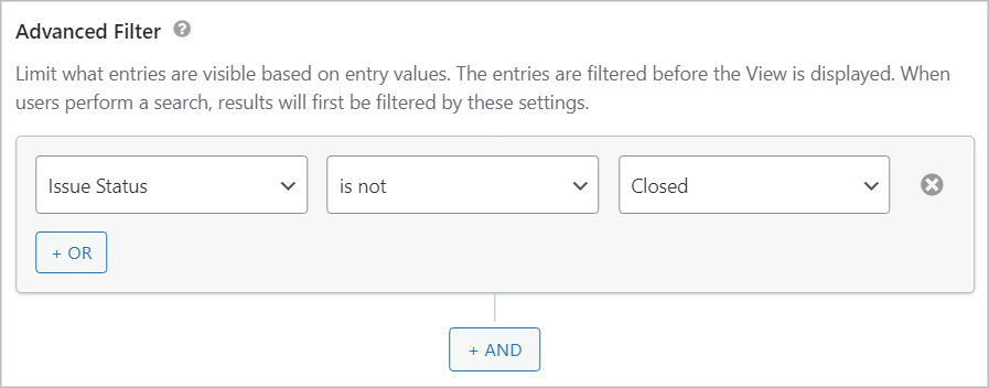 """The Advanced Filter settings containing a condition that says """"Issue Status is not Closed""""."""
