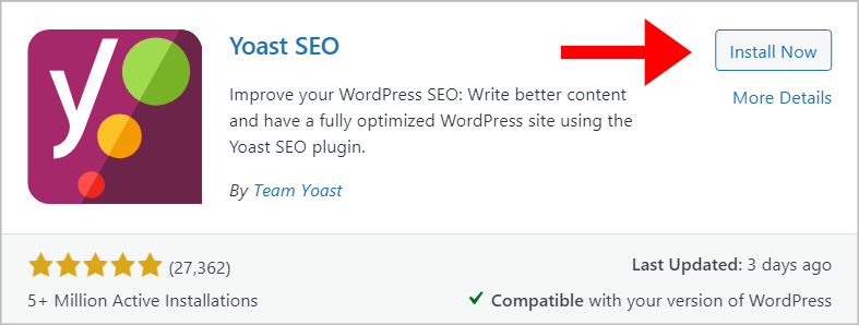 The Yoast SEO WordPress plugin preview showing over 27,000 reviews and more than 5 million active installations