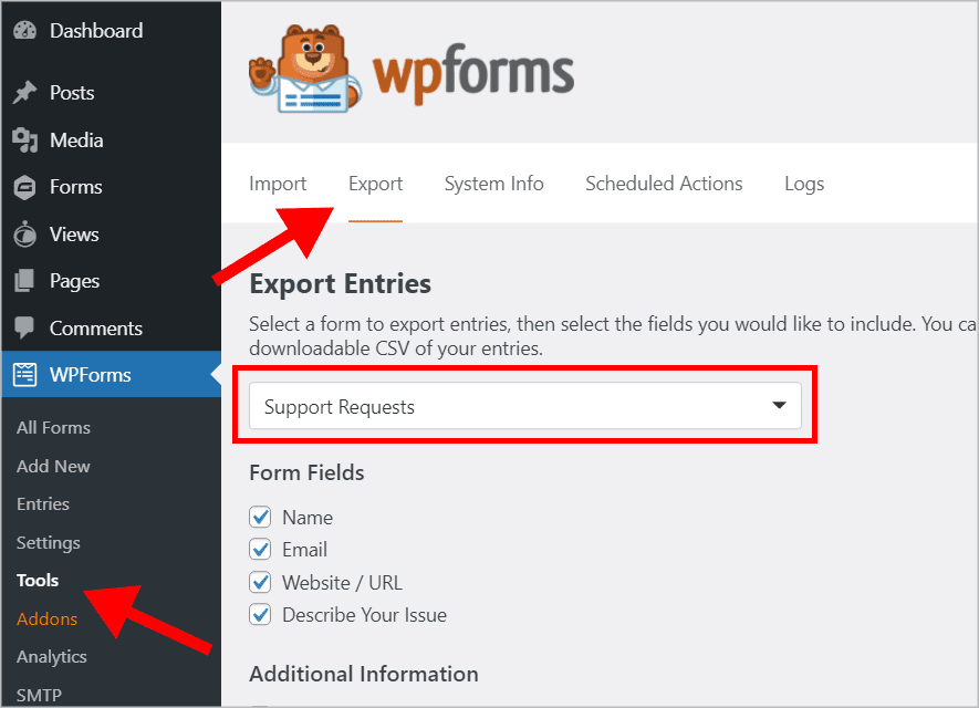 The WPForms 'Tools' page in WordPress with an arrow pointing to the 'Export' tab
