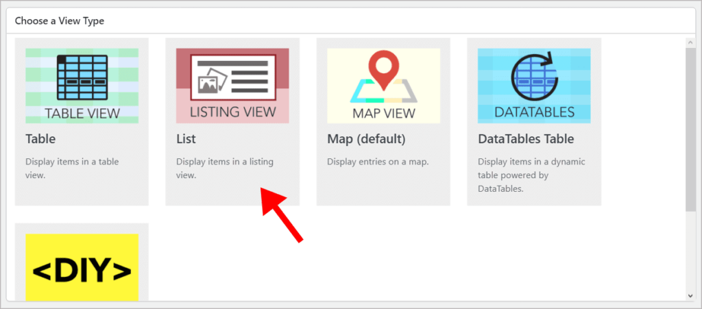 The different View Types in GravityView with an arrow pointing to the List layout