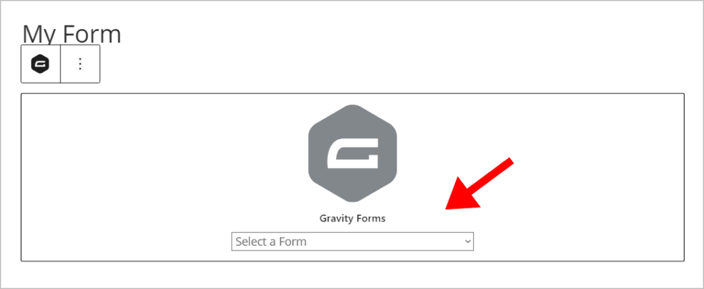 The Gravity Forms block dropdown field to select a form